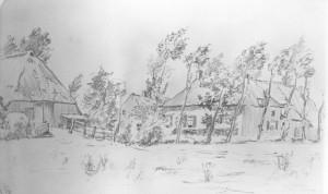 Bloemberg met links de schuur waar tijdens de oorlog de keukenwagen voor de soldaten stond